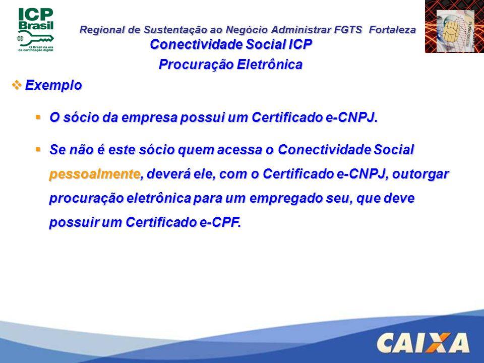 Regional de Sustentação ao Negócio Administrar FGTS Fortaleza Conectividade Social ICP Procuração Eletrônica Exemplo Exemplo O sócio da empresa possui