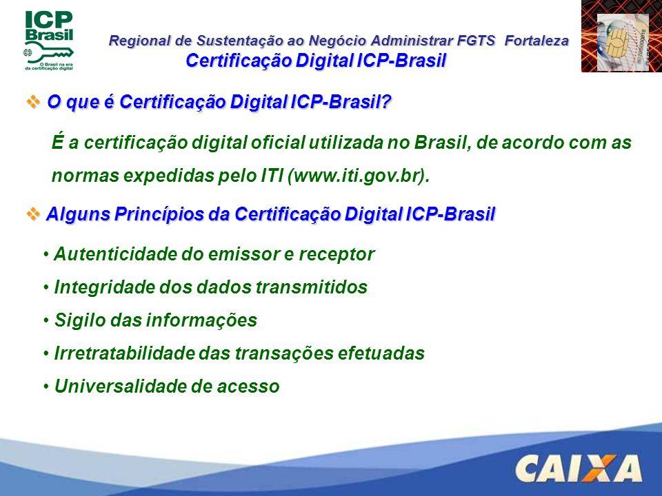 Regional de Sustentação ao Negócio Administrar FGTS Fortaleza Alguns Princípios da Certificação Digital ICP-Brasil Alguns Princípios da Certificação D
