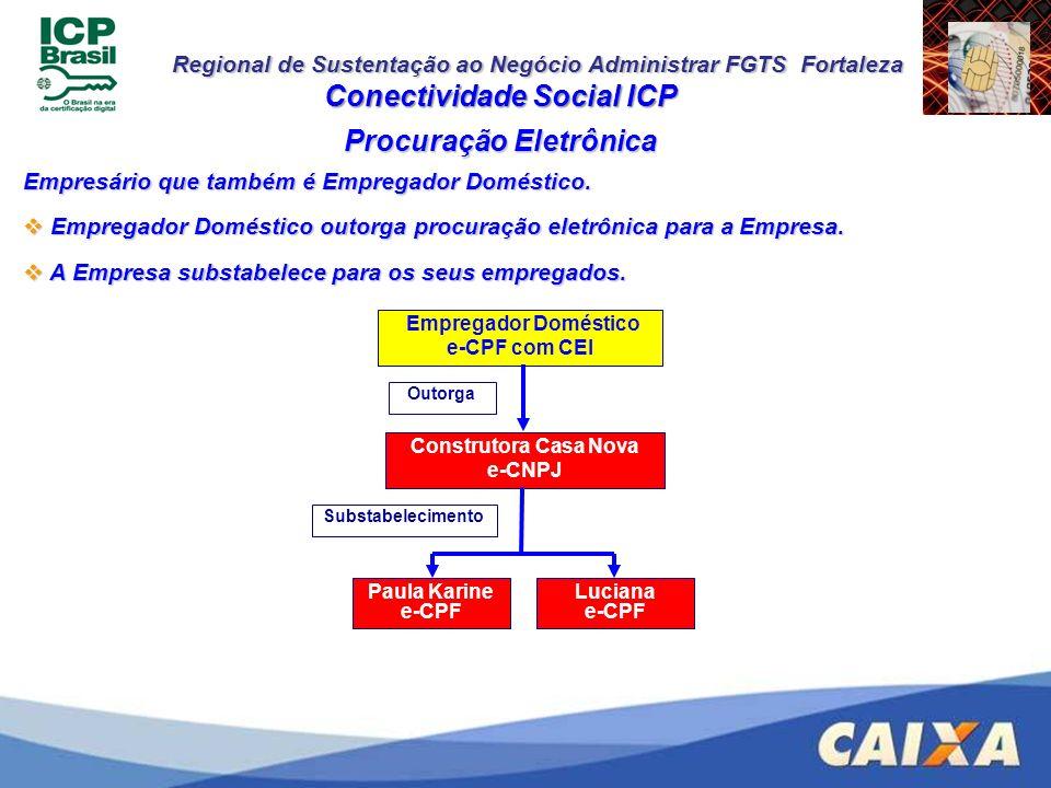 Regional de Sustentação ao Negócio Administrar FGTS Fortaleza Conectividade Social ICP Empresário que também é Empregador Doméstico. Empregador Domést