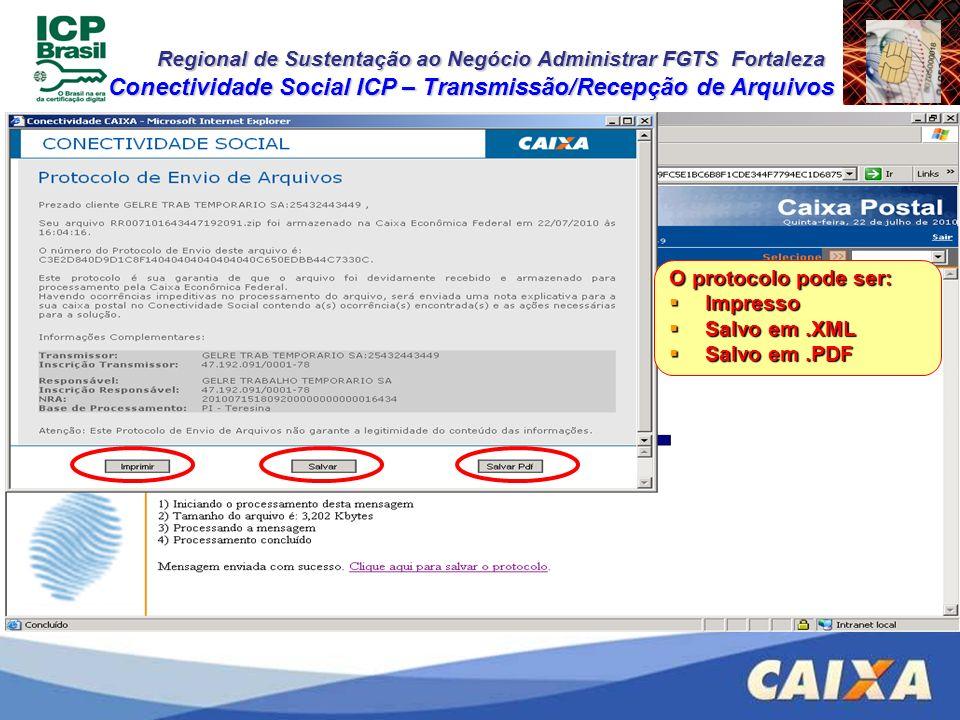 Regional de Sustentação ao Negócio Administrar FGTS Fortaleza Conectividade Social ICP – Transmissão/Recepção de Arquivos O protocolo pode ser: Impres