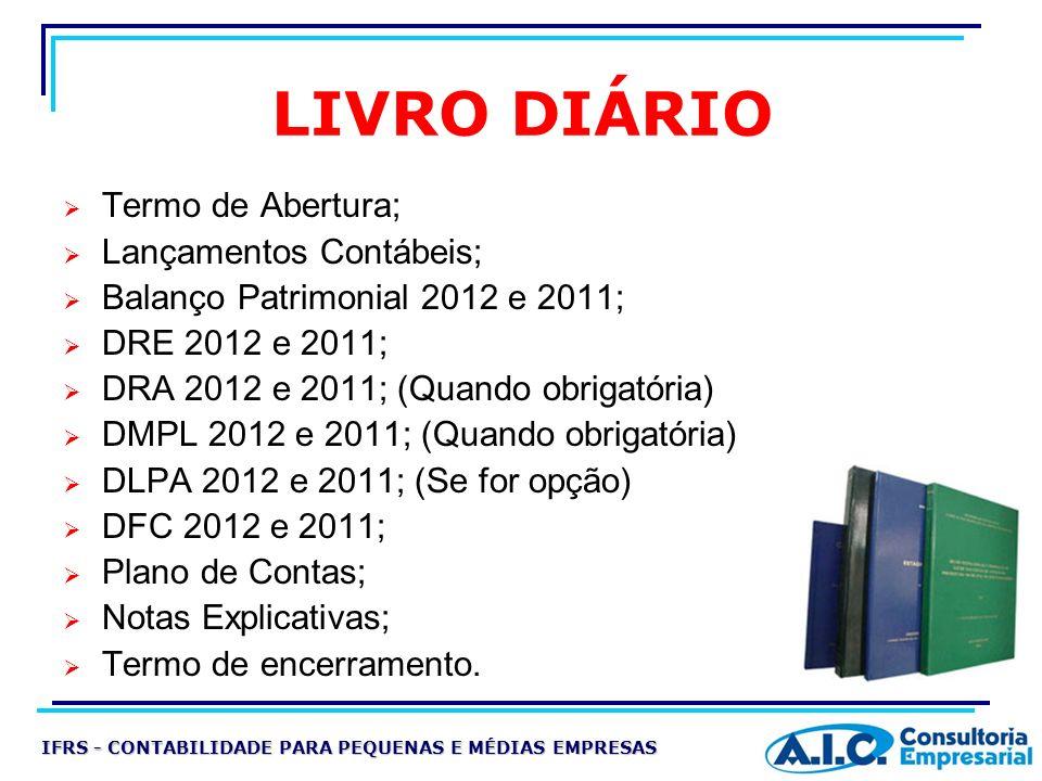 LIVRO DIÁRIO Termo de Abertura; Lançamentos Contábeis; Balanço Patrimonial 2012 e 2011; DRE 2012 e 2011; DRA 2012 e 2011; (Quando obrigatória) DMPL 20