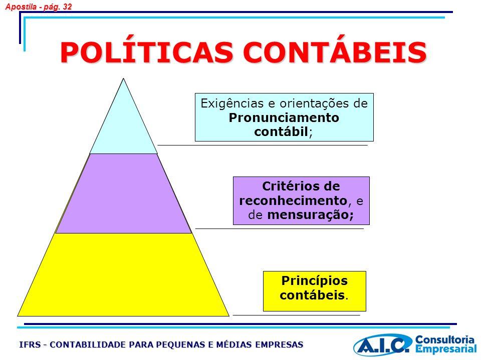 POLÍTICAS CONTÁBEIS Exigências e orientações de Pronunciamento contábil; Critérios de reconhecimento, e de mensuração; Princípios contábeis. IFRS - CO