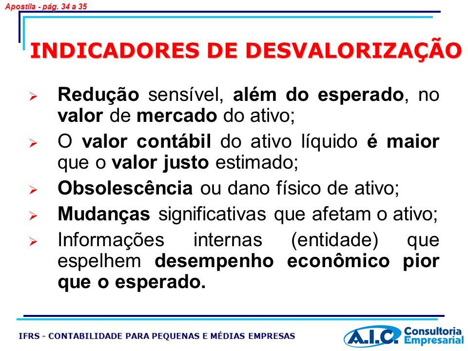 INDICADORES DE DESVALORIZAÇÃO Redução sensível, além do esperado, no valor de mercado do ativo; O valor contábil do ativo líquido é maior que o valor