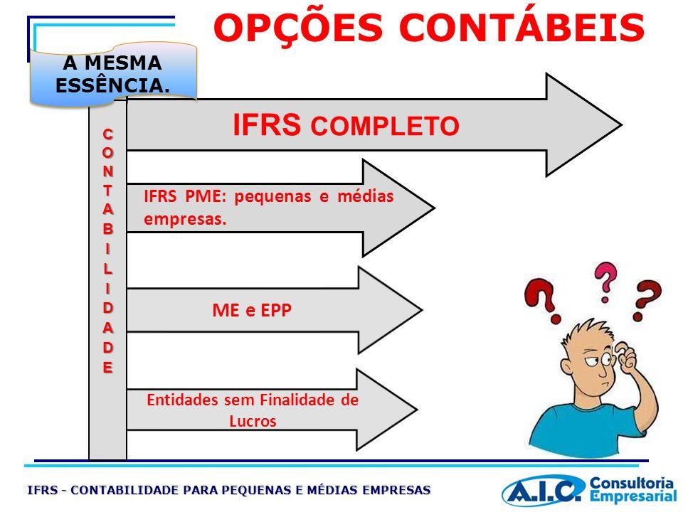 OPÇÕES CONTÁBEIS IFRS COMPLETO IFRS PME: pequenas e médias empresas. A MESMA ESSÊNCIA. ME e EPP Entidades sem Finalidade de Lucros IFRS - CONTABILIDAD