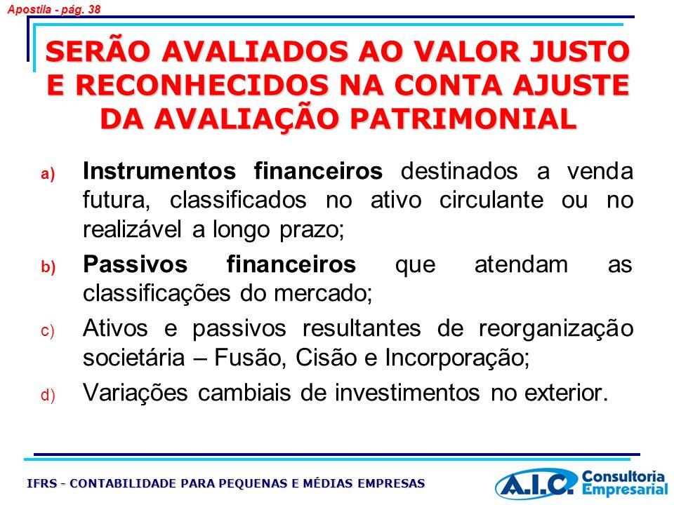 SERÃO AVALIADOS AO VALOR JUSTO E RECONHECIDOS NA CONTA AJUSTE DA AVALIAÇÃO PATRIMONIAL a) Instrumentos financeiros destinados a venda futura, classifi