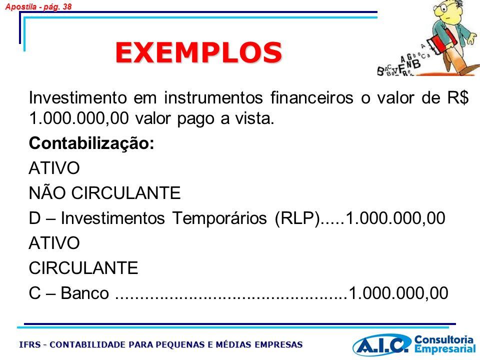 EXEMPLOS Investimento em instrumentos financeiros o valor de R$ 1.000.000,00 valor pago a vista. Contabilização: ATIVO NÃO CIRCULANTE D – Investimento