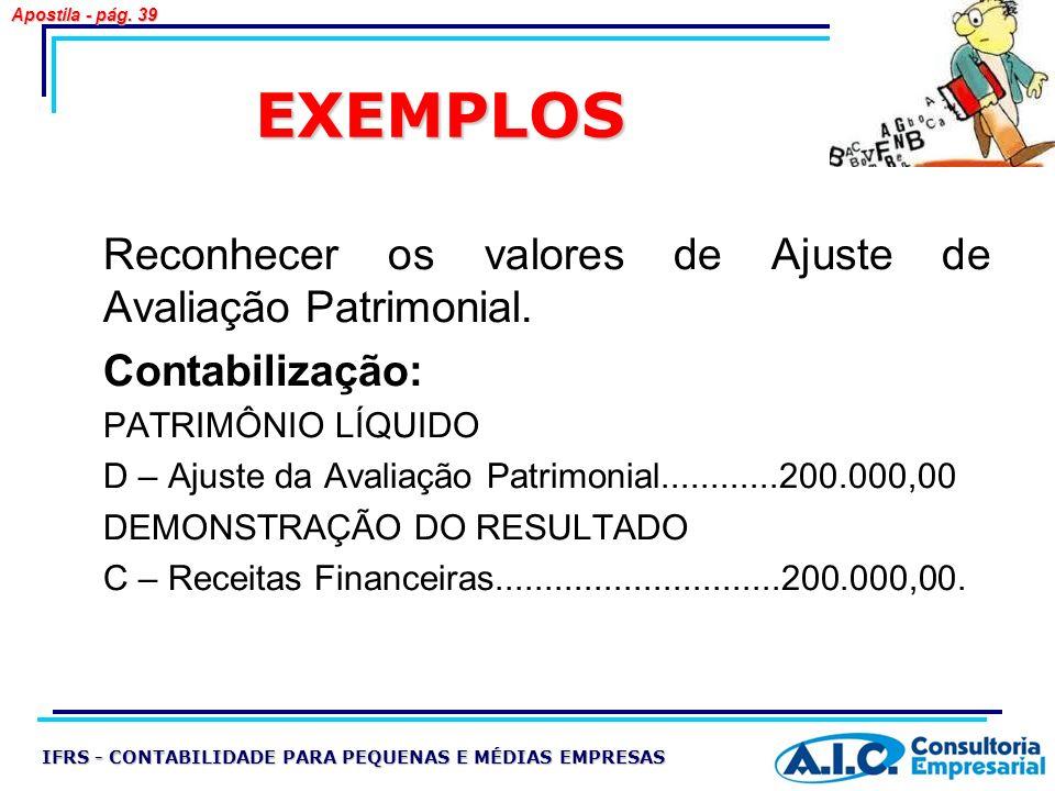 EXEMPLOS Reconhecer os valores de Ajuste de Avaliação Patrimonial. Contabilização: PATRIMÔNIO LÍQUIDO D – Ajuste da Avaliação Patrimonial............2