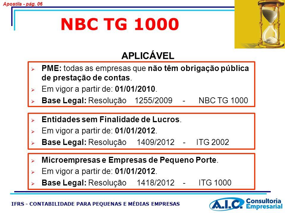 NBC TG 1000 PME: todas as empresas que não têm obrigação pública de prestação de contas. Em vigor a partir de: 01/01/2010. Base Legal: Resolução 1255/