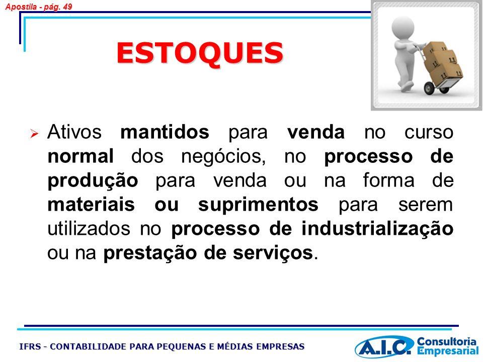 ESTOQUES Ativos mantidos para venda no curso normal dos negócios, no processo de produção para venda ou na forma de materiais ou suprimentos para sere