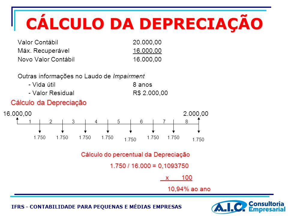 CÁLCULO DA DEPRECIAÇÃO Valor Contábil 20.000,00 Máx. Recuperável16.000,00 Novo Valor Contábil16.000,00 Outras informações no Laudo de Impairment - Vid