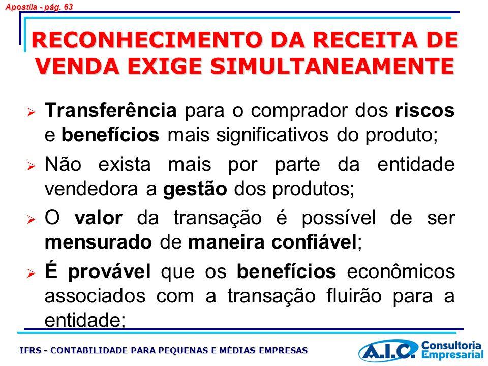 RECONHECIMENTO DA RECEITA DE VENDA EXIGE SIMULTANEAMENTE Transferência para o comprador dos riscos e benefícios mais significativos do produto; Não ex