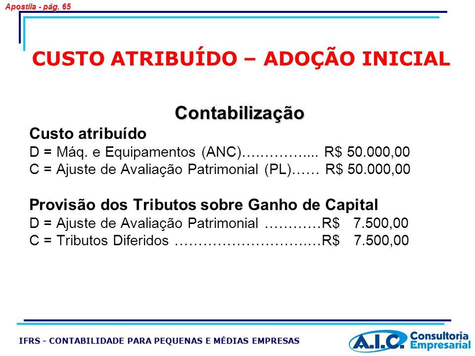 CUSTO ATRIBUÍDO – ADOÇÃO INICIAL Contabilização Custo atribuído D = Máq. e Equipamentos (ANC)….……….... R$ 50.000,00 C = Ajuste de Avaliação Patrimonia