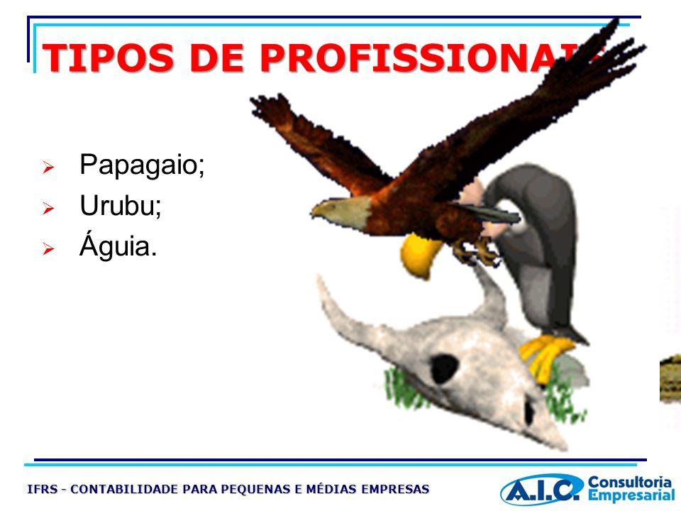 TIPOS DE PROFISSIONAIS Papagaio; Urubu; Águia. IFRS - CONTABILIDADE PARA PEQUENAS E MÉDIAS EMPRESAS