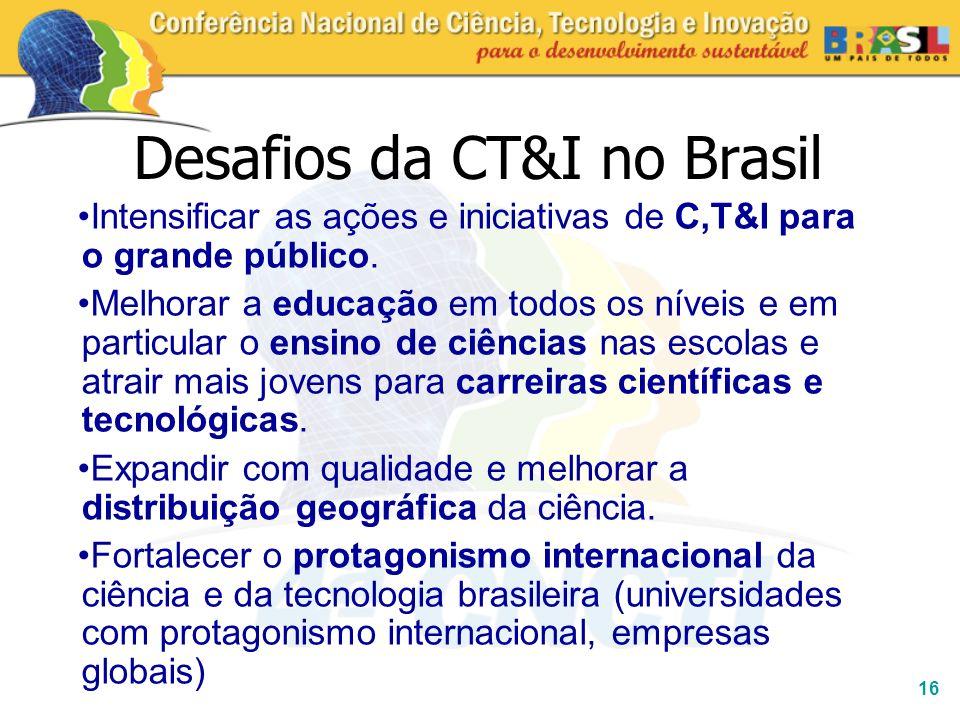 16 Desafios da CT&I no Brasil Intensificar as ações e iniciativas de C,T&I para o grande público. Melhorar a educação em todos os níveis e em particul