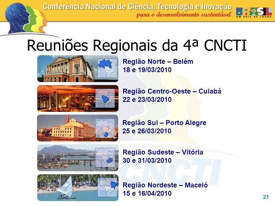 21 Reuniões Regionais da 4ª CNCTI Região Sul – Porto Alegre 25 e 26/03/2010 Região Nordeste – Maceió 15 e 16/04/2010 Região Norte – Belém 18 e 19/03/2
