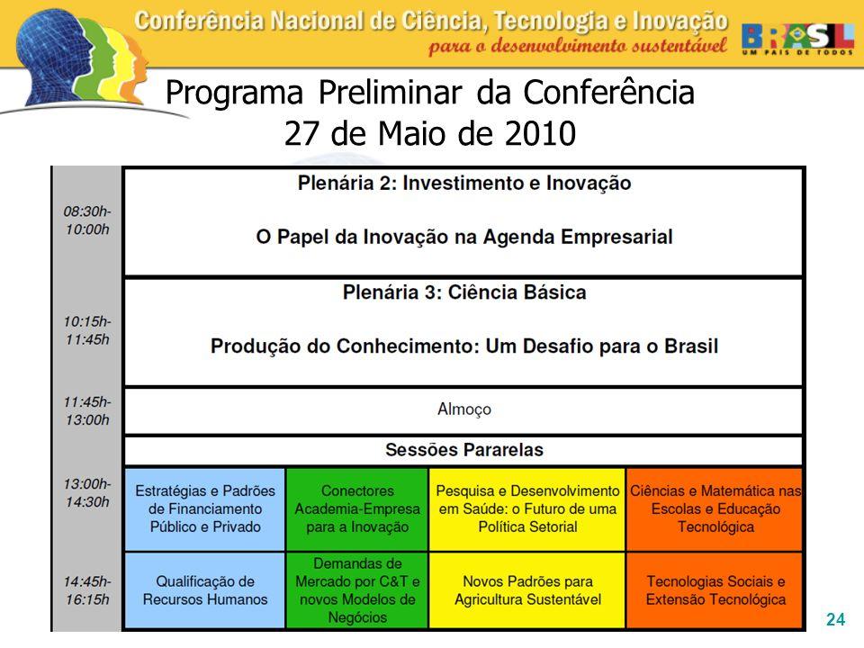 24 Programa Preliminar da Conferência 27 de Maio de 2010