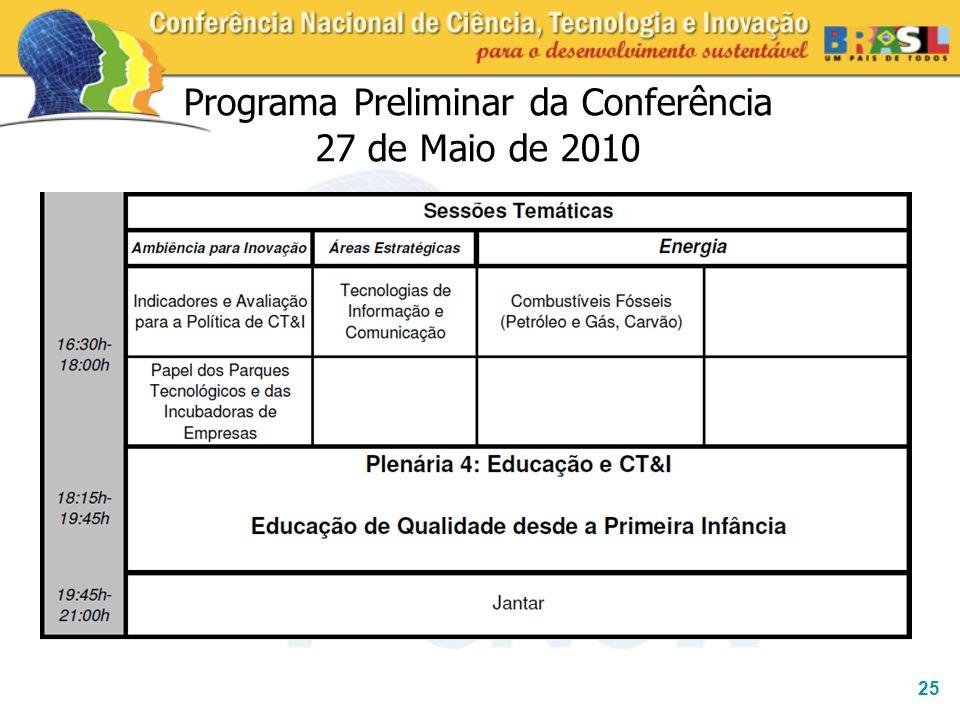 25 Programa Preliminar da Conferência 27 de Maio de 2010