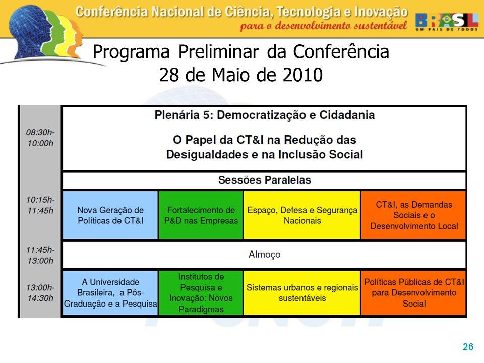 26 Programa Preliminar da Conferência 28 de Maio de 2010