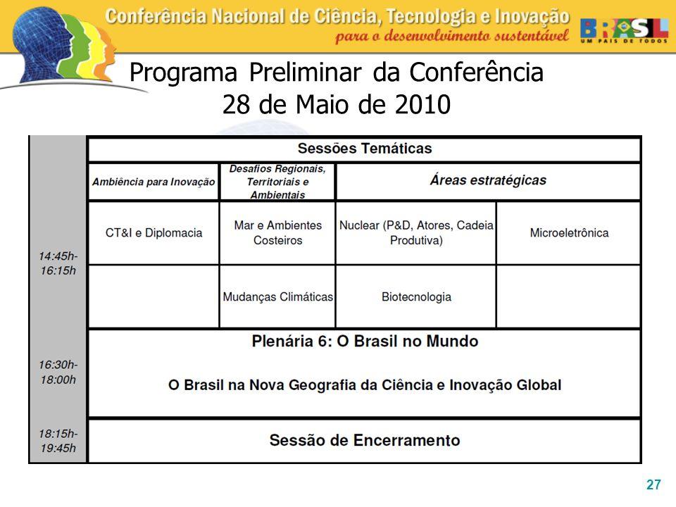 27 Programa Preliminar da Conferência 28 de Maio de 2010