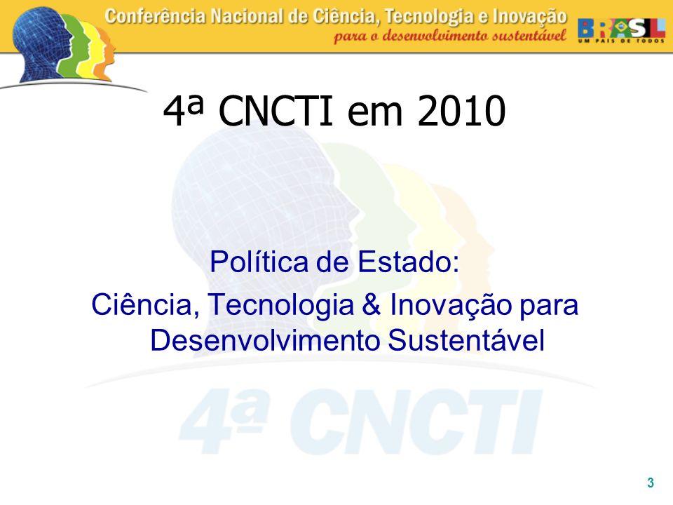 3 Política de Estado: Ciência, Tecnologia & Inovação para Desenvolvimento Sustentável 4ª CNCTI em 2010