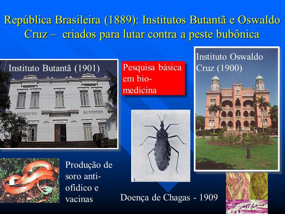 República Brasileira (1889): Institutos Butantã e Oswaldo Cruz – criados para lutar contra a peste bubônica Instituto Oswaldo Cruz (1900) Instituto Bu