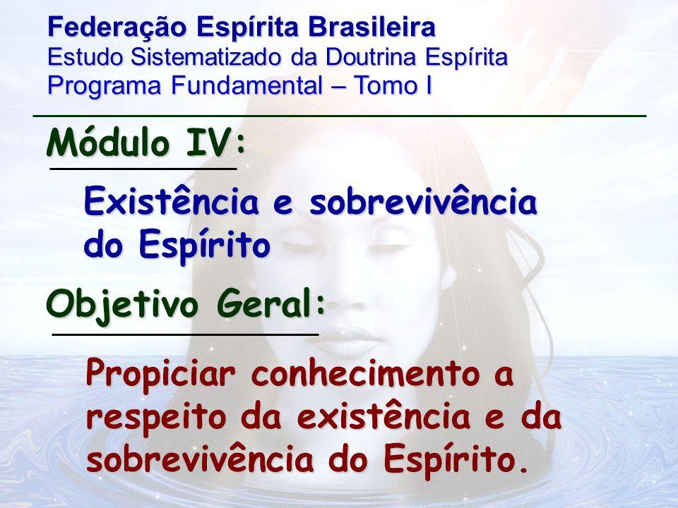 Roteiro 1 – Perispírito: conceito; Módulo IV Roteiro 2 – Origem e natureza do Espírito; Roteiro 3 – Provas da existência e sobrevivência do Espírito ; Roteiro 4 – Progressão dos Espíritos.