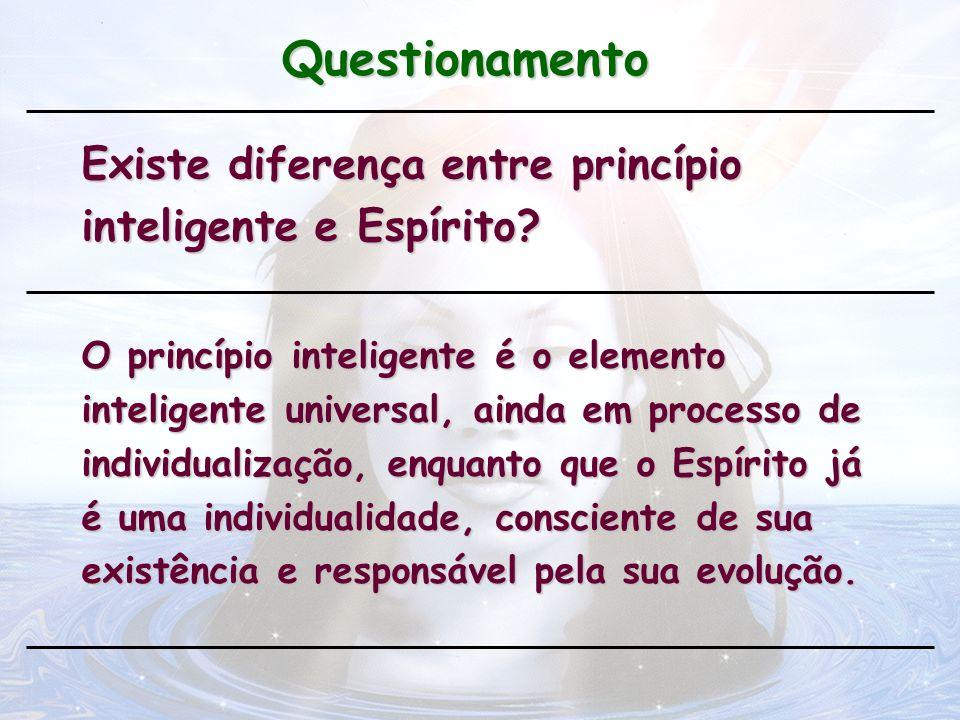 Questionamento Existe diferença entre princípio inteligente e Espírito? O princípio inteligente é o elemento inteligente universal, ainda em processo
