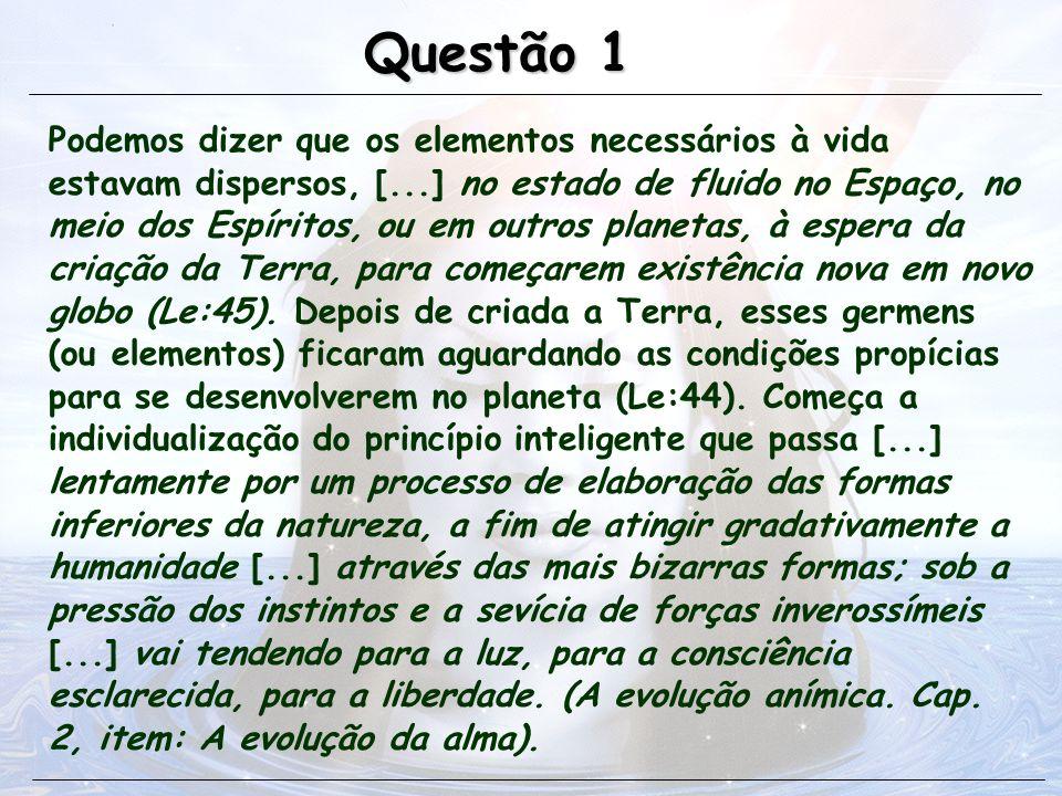 Podemos dizer que os elementos necessários à vida estavam dispersos, [...] no estado de fluido no Espaço, no meio dos Espíritos, ou em outros planetas