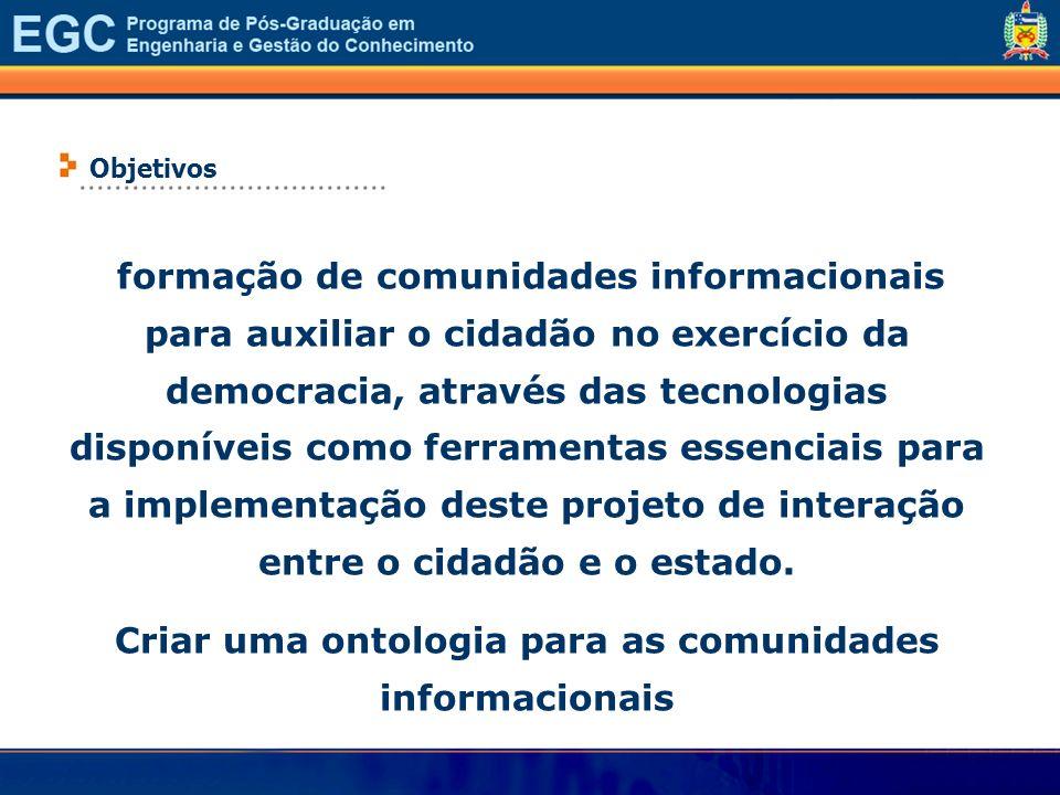 formação de comunidades informacionais para auxiliar o cidadão no exercício da democracia, através das tecnologias disponíveis como ferramentas essenc