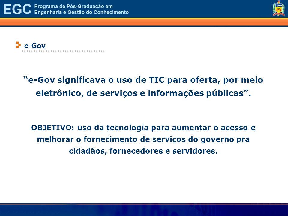 e-Gov significava o uso de TIC para oferta, por meio eletrônico, de serviços e informações públicas. OBJETIVO: uso da tecnologia para aumentar o acess