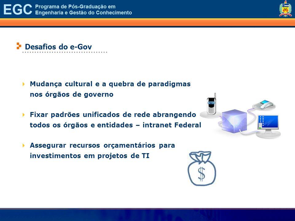 ................................... Desafios do e-Gov Mudança cultural e a quebra de paradigmas nos órgãos de governo Fixar padrões unificados de rede