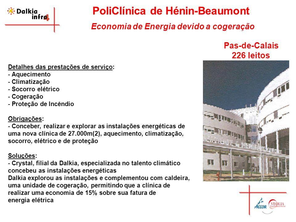 PoliClínica de Hénin-Beaumont Economia de Energia devido a cogeração Detalhes das prestações de serviço: - Aquecimento - Climatização - Socorro elétri