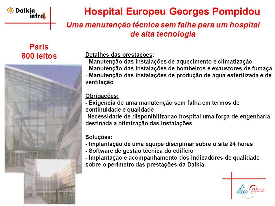 Hospital Europeu Georges Pompidou Uma manutenção técnica sem falha para um hospital de alta tecnologia Detalhes das prestações: - Manutenção das insta