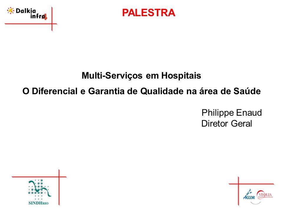 PALESTRA Multi-Serviços em Hospitais O Diferencial e Garantia de Qualidade na área de Saúde Philippe Enaud Diretor Geral