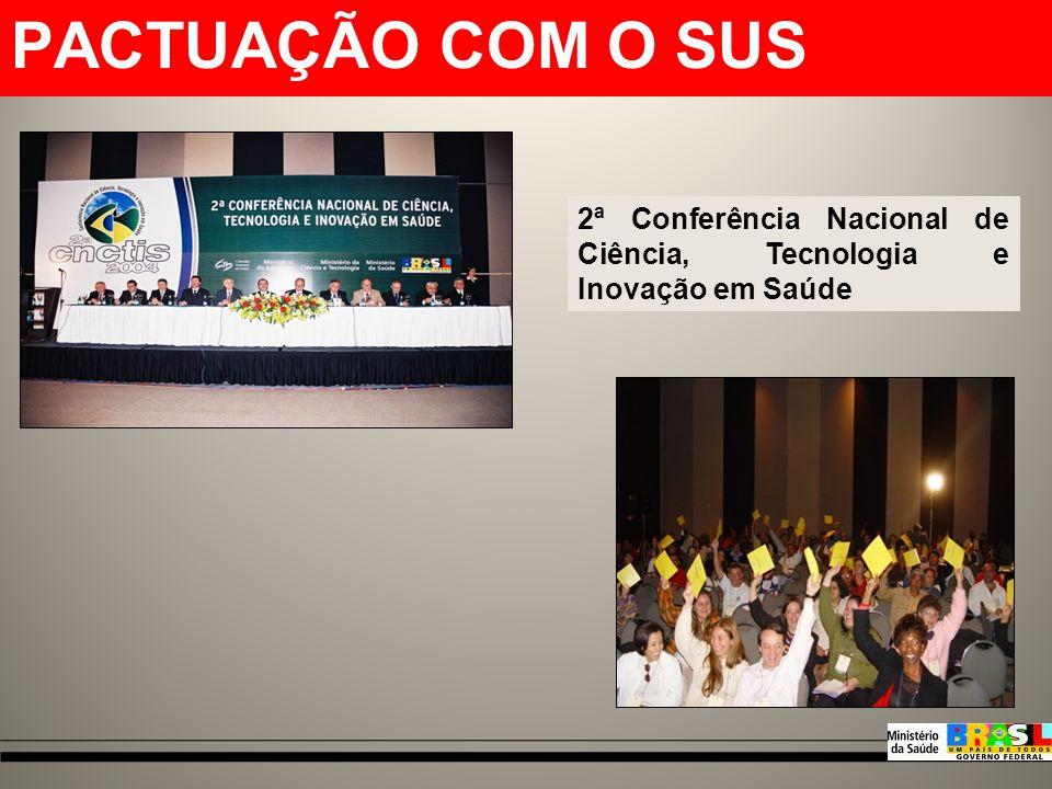 MODELO DE FOMENTO DA SCTIE (DECIT) 2003- 2006 Algumas pactuações importantes...