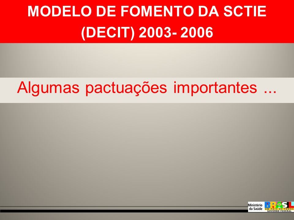 Fonte: Brasil, Ministério da Saúde, Departamento de Ciência e Tecnologia - Decit.