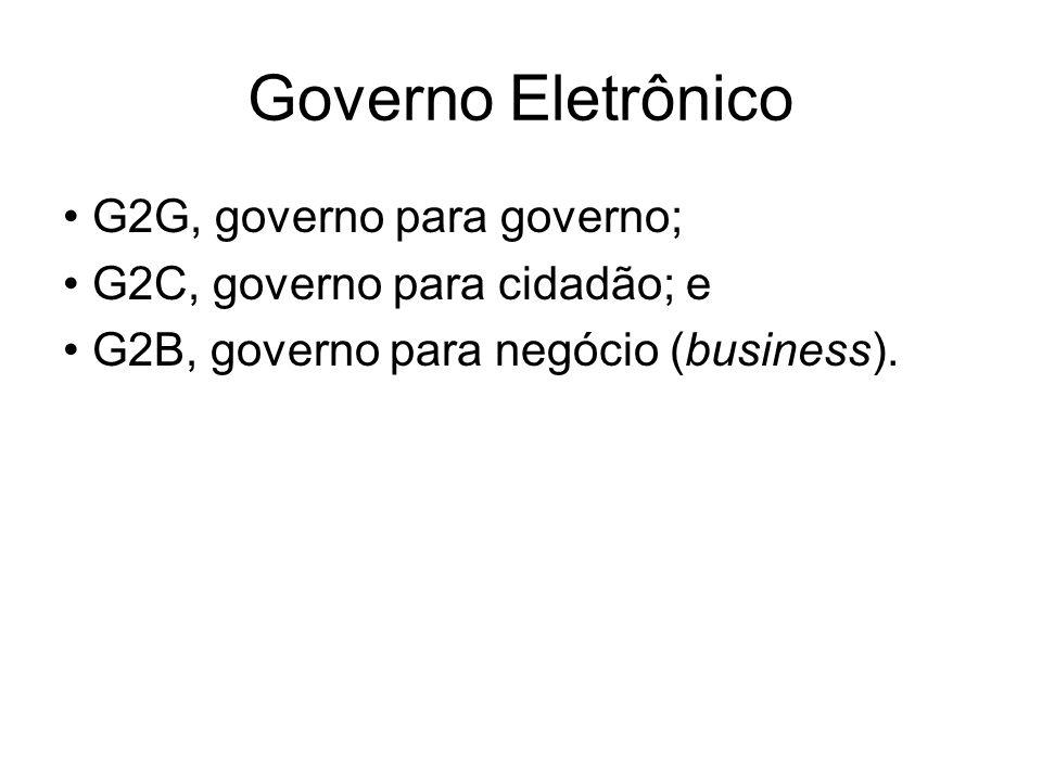Governo Eletrônico G2G, governo para governo; G2C, governo para cidadão; e G2B, governo para negócio (business).