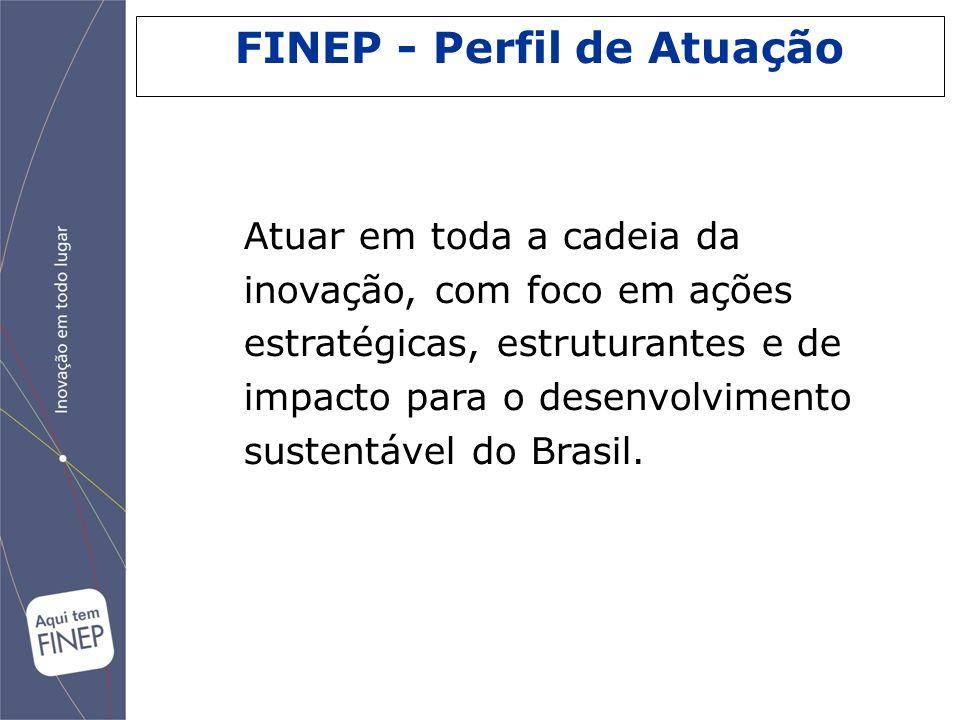 Atuar em toda a cadeia da inovação, com foco em ações estratégicas, estruturantes e de impacto para o desenvolvimento sustentável do Brasil. FINEP - P