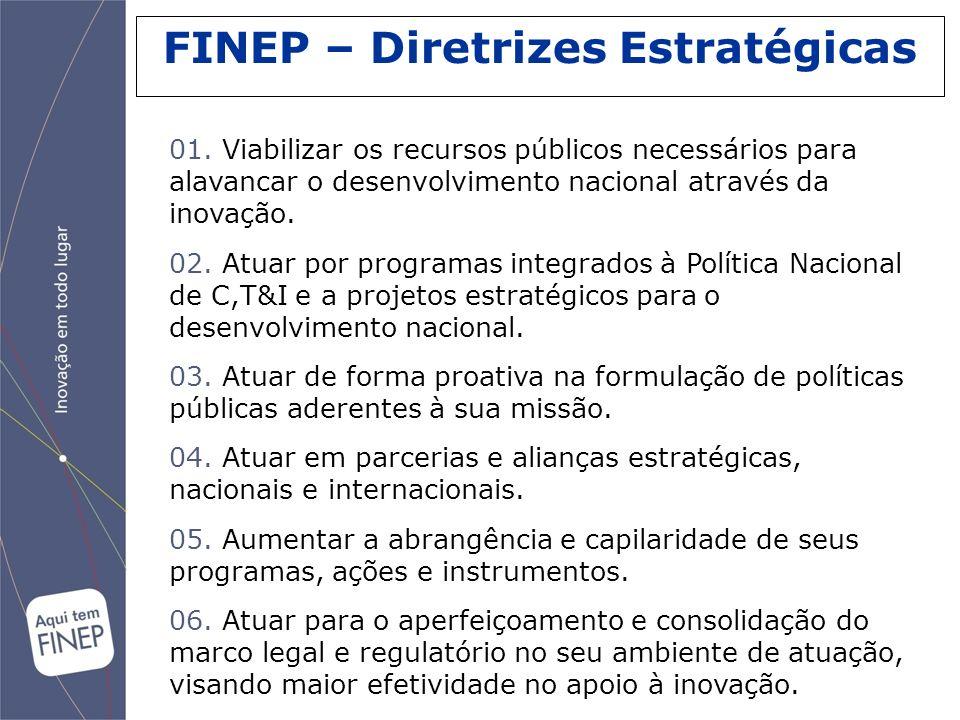 FINEP – Diretrizes Estratégicas 01. Viabilizar os recursos públicos necessários para alavancar o desenvolvimento nacional através da inovação. 02. Atu