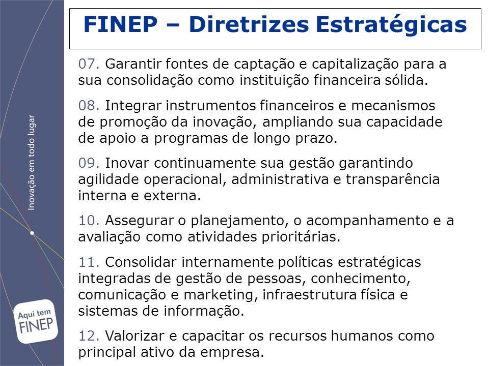 FINEP – Diretrizes Estratégicas 07. Garantir fontes de captação e capitalização para a sua consolidação como instituição financeira sólida. 08. Integr