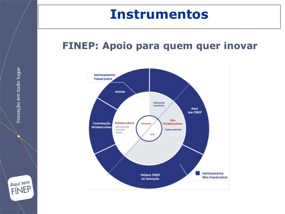 FINEP: Apoio para quem quer inovar Instrumentos