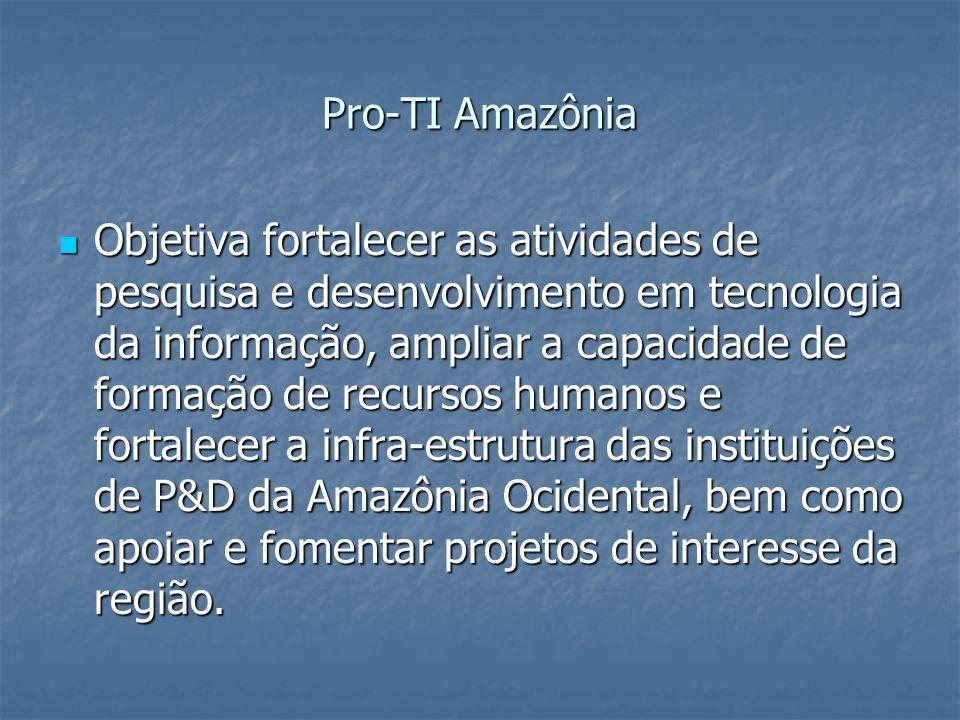 Pro-TI Amazônia Objetiva fortalecer as atividades de pesquisa e desenvolvimento em tecnologia da informação, ampliar a capacidade de formação de recur