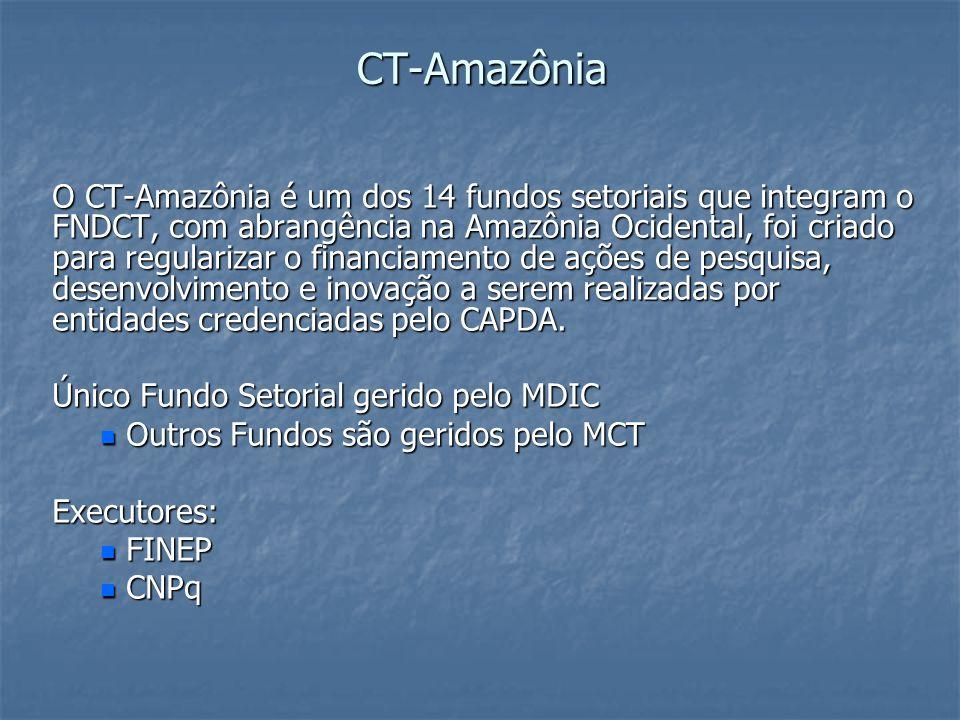 CT-Amazônia CT-Amazônia O CT-Amazônia é um dos 14 fundos setoriais que integram o FNDCT, com abrangência na Amazônia Ocidental, foi criado para regula