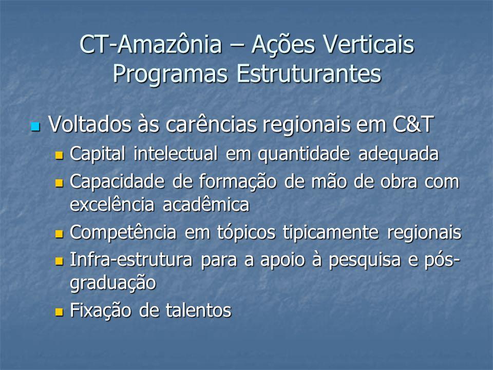 CT-Amazônia – Ações Verticais Programas Estruturantes Voltados às carências regionais em C&T Voltados às carências regionais em C&T Capital intelectua