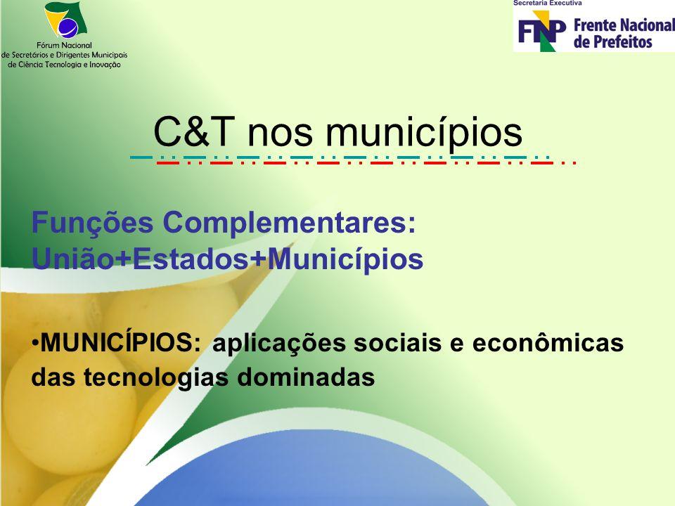 C&T nos municípios Funções Complementares: União+Estados+Municípios MUNICÍPIOS: aplicações sociais e econômicas das tecnologias dominadas