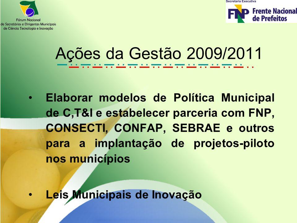 Elaborar modelos de Política Municipal de C,T&I e estabelecer parceria com FNP, CONSECTI, CONFAP, SEBRAE e outros para a implantação de projetos-piloto nos municípios Leis Municipais de Inovação Ações da Gestão 2009/2011