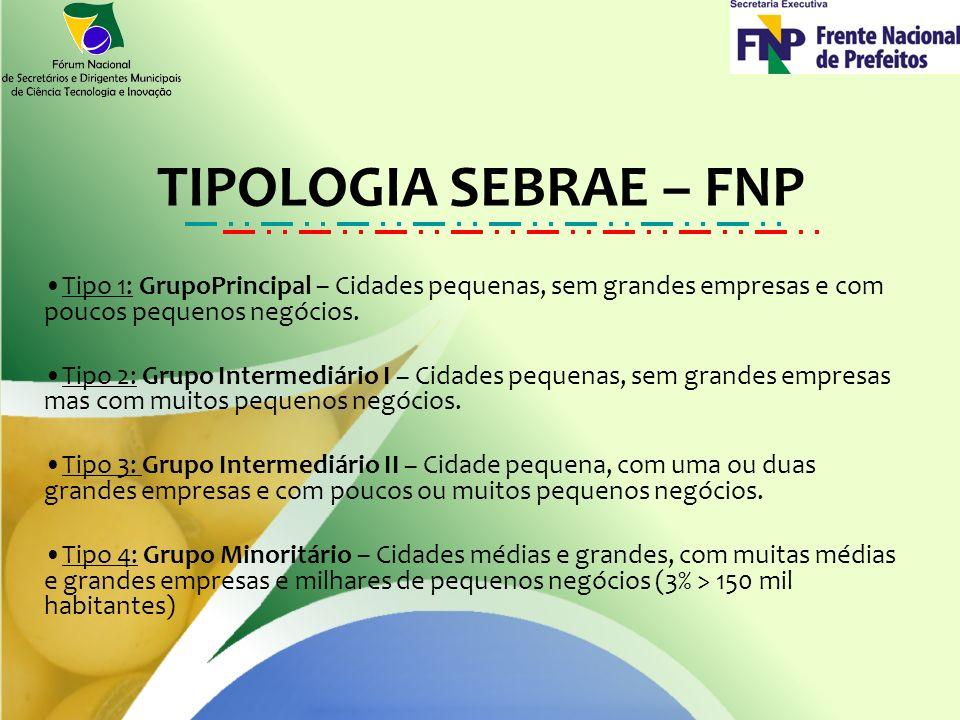TIPOLOGIA SEBRAE – FNP Tipo 1: GrupoPrincipal – Cidades pequenas, sem grandes empresas e com poucos pequenos negócios.