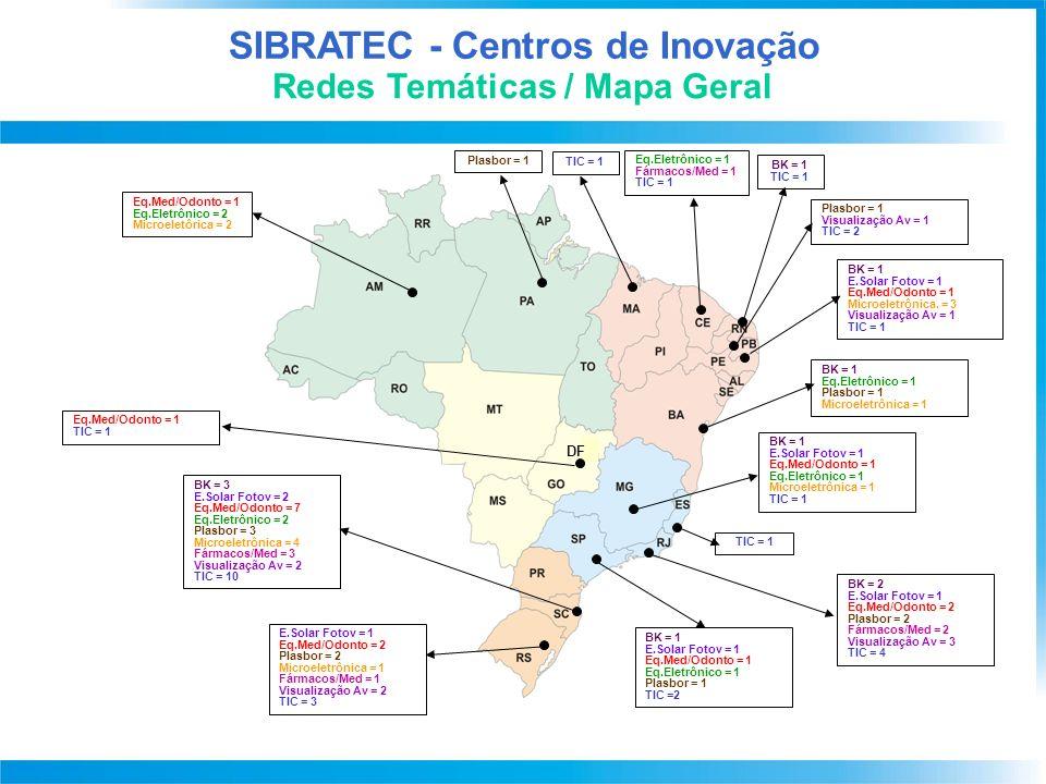 Redes Temáticas / Mapa Geral SIBRATEC - Centros de Inovação DF TIC = 1 Eq.Eletrônico = 1 Fármacos/Med = 1 TIC = 1 BK = 1 TIC = 1 Plasbor = 1 Visualização Av = 1 TIC = 2 BK = 1 E.Solar Fotov = 1 Eq.Med/Odonto = 1 Microeletrônica.