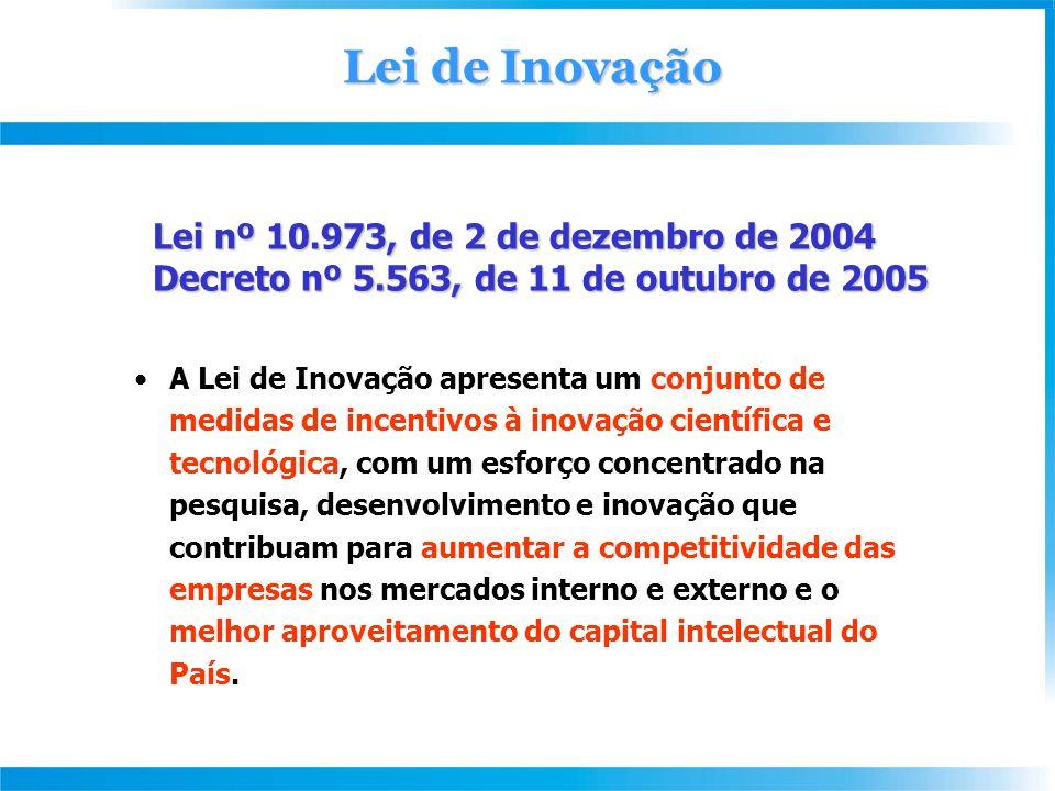 Lei nº 10.973, de 2 de dezembro de 2004 Decreto nº 5.563, de 11 de outubro de 2005 Decreto nº 5.563, de 11 de outubro de 2005 A Lei de Inovação apresenta um conjunto de medidas de incentivos à inovação científica e tecnológica, com um esforço concentrado na pesquisa, desenvolvimento e inovação que contribuam para aumentar a competitividade das empresas nos mercados interno e externo e o melhor aproveitamento do capital intelectual do País.