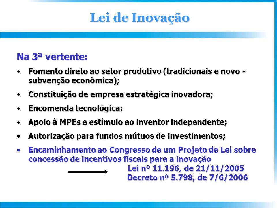 Lei de Inovação Na 3ª vertente: Fomento direto ao setor produtivo (tradicionais e novo - subvenção econômica);Fomento direto ao setor produtivo (tradicionais e novo - subvenção econômica); Constituição de empresa estratégica inovadora;Constituição de empresa estratégica inovadora; Encomenda tecnológica;Encomenda tecnológica; Apoio à MPEs e estímulo ao inventor independente;Apoio à MPEs e estímulo ao inventor independente; Autorização para fundos mútuos de investimentos;Autorização para fundos mútuos de investimentos; Encaminhamento ao Congresso de um Projeto de Lei sobre concessão de incentivos fiscais para a inovação Lei nº 11.196, de 21/11/2005Encaminhamento ao Congresso de um Projeto de Lei sobre concessão de incentivos fiscais para a inovação Lei nº 11.196, de 21/11/2005 Decreto nº 5.798, de 7/6/2006 Decreto nº 5.798, de 7/6/2006